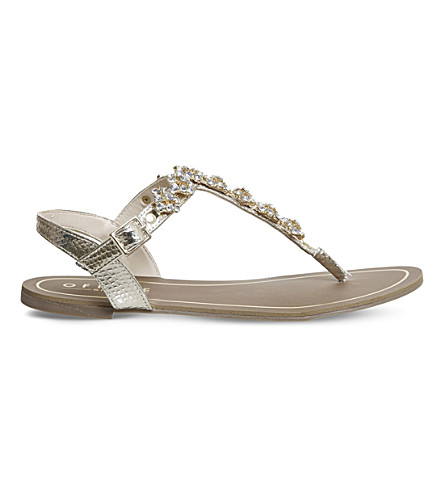 OFFICE Saint embellished sandals (Gold+snake