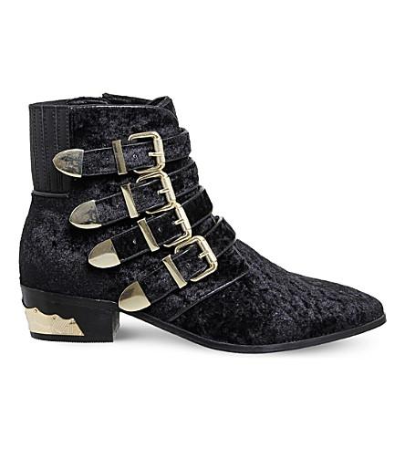 OFFICE Alabama buckled velvet boots (Black+velvet