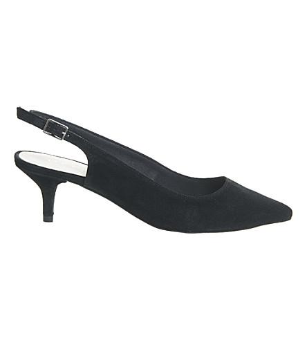 OFFICE Mocktail suede slingback kitten heels (Black+suede