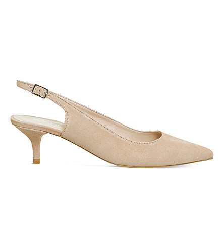 OFFICE Mocktail suede slingback kitten heels (Nude+suede