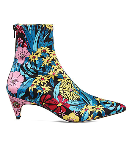 OFFICE Atomic floral-print stretch-satin boots (Floral+satin+print
