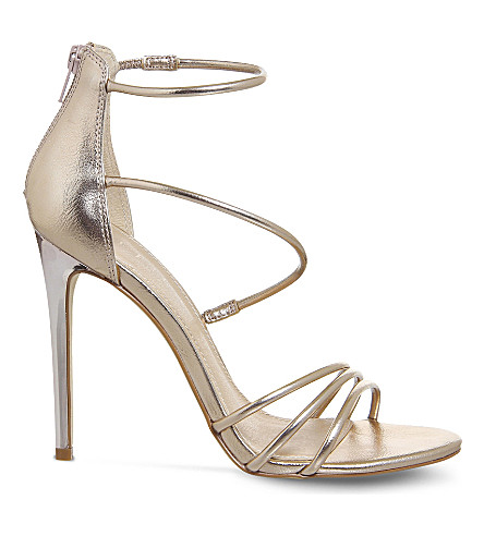 OFFICE Harness Strappy metallic slim heeled sandals (Rose+gold