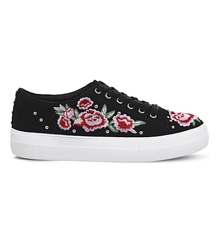 OFFICE Flip embroidered studded trainers (Black