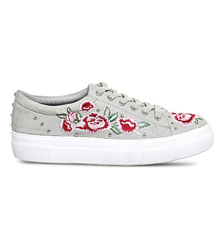 OFFICE Flip embroidered studded trainers (Grey