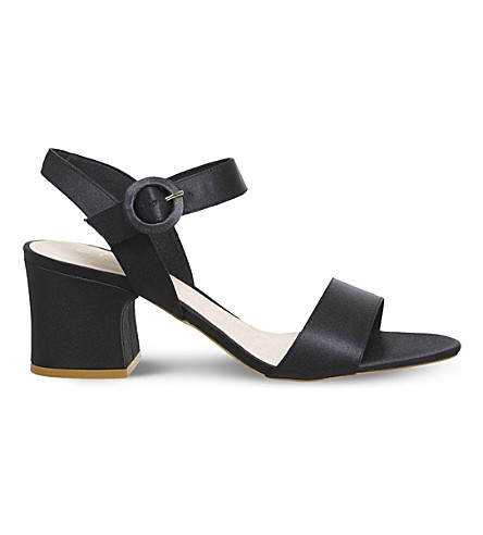OFFICE Melbourne satin block heel sandals (Black+satin