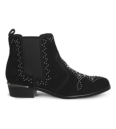 OFFICE Abracadabra studded suede chelsea boots (Black+suede