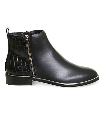 OFFICE Abbie croc-panel ankle boots (Black+with+gold