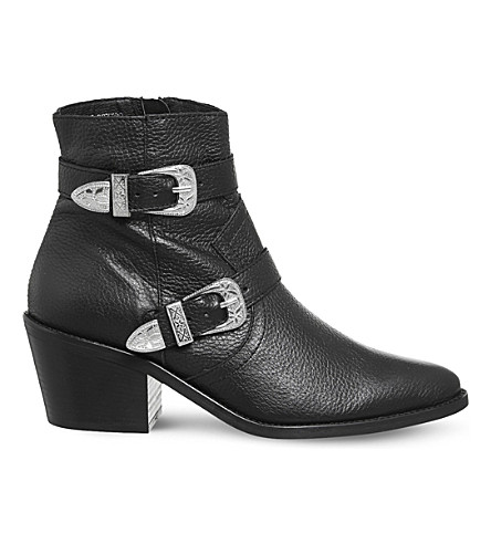 OFFICE Alpha leather ankle boots (Black+leather