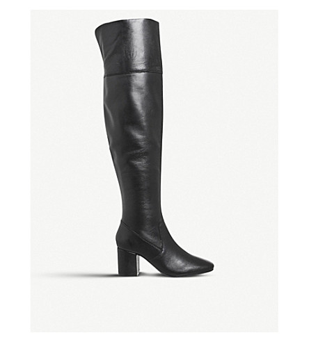 OFFICE Krissy leather over-the-knee boots (Black+leather
