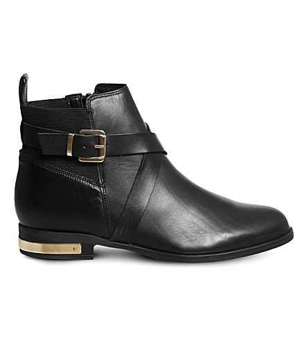 OFFICE Archer buckled leather ankle boots (Black+leather