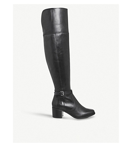OFFICE Kacey leather over-the-knee riding boots (Black+leather