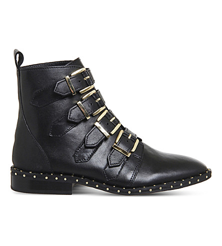 OFFICE Amsterdam buckled stud-detail ankle boots (Black+leather