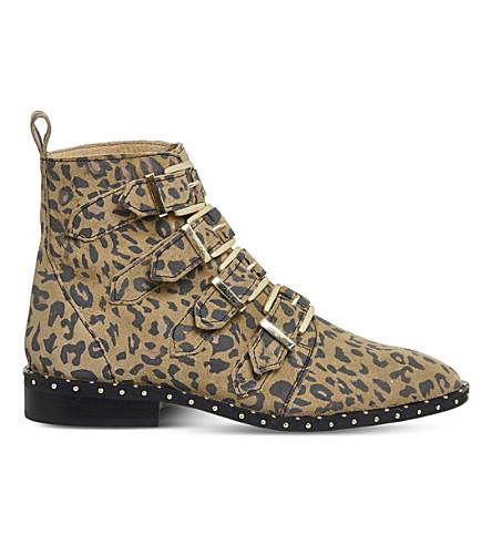 OFFICE Amsterdam leopard-print stud-detail ankle boots (Leopard+nubuck