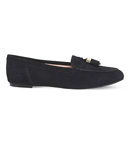 OFFICE Fedora tassel suede loafers (Black+suede