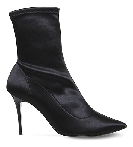 OFFICE Aphrodite stretch satin boots (Black+satin+stretch