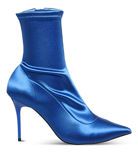 OFFICE Aphrodite stretch satin boots (Blue+satin+stretch