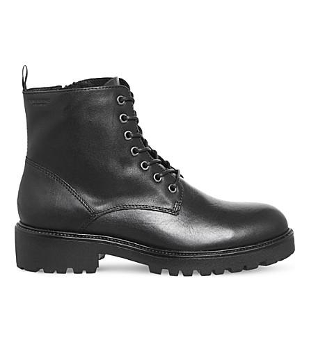 VAGABOND Kenova 皮革靴子 (黑色 + 皮革