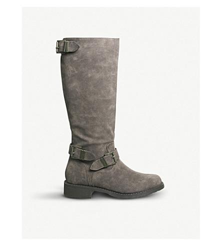 OFFICE Koala faux-suede biker boots (Brown