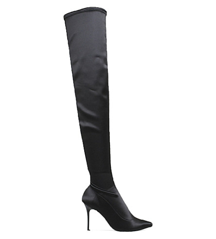 OFFICE Kiss and Tell over-the-knee stretch-satin boots (Black+satin+stretch