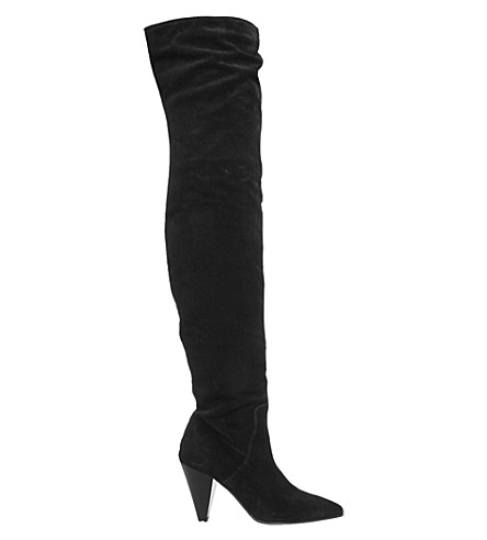 OFFICE Kone slouch over-the-knee boots (Black+suede