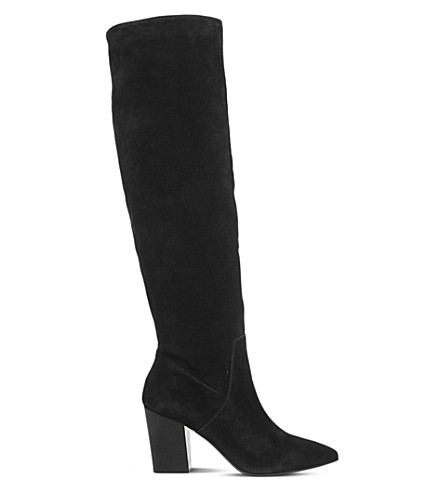 OFFICE Kola slouch knee-high boots (Black+suede