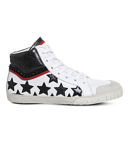 ASH Musik hi-top leather trainers (Off+white+leather