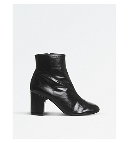 OFFICE Applause leather ankle boots (Black+leather