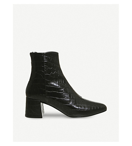OFFICE Alexia croc-embossed leather boots (Black+croc+leather