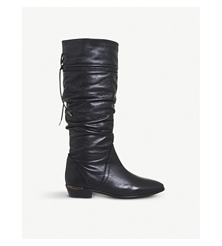 OFFICE Kitty slouchy knee-high leather boots (Black+leather