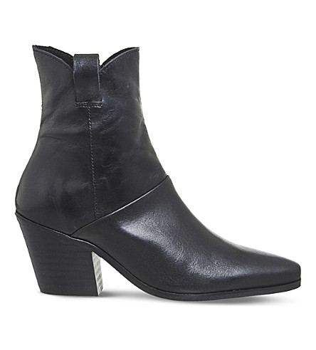 OFFICE Argentina heeled leather ankle boots (Black+leather