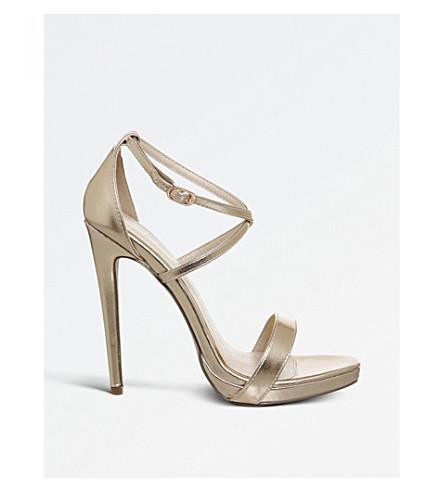 OFFICE High Ground metallic platform heels (Rose+gold