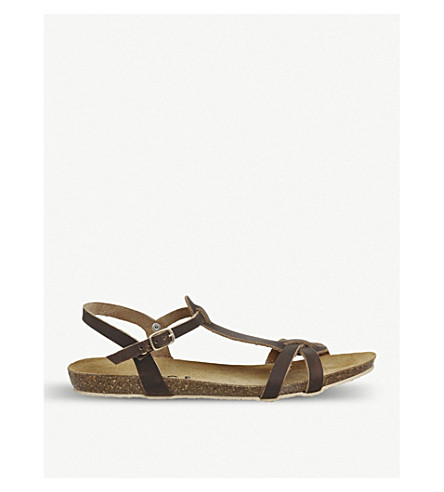 OFFICE Sorbet T-bar leather sandals (Brown+leather
