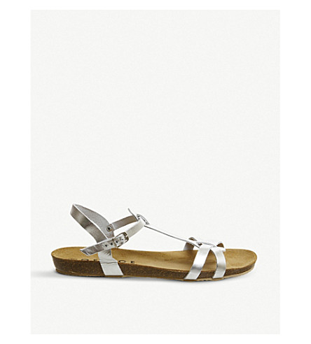 OFFICE Sorbet T-bar Footbed metallic leather sandals (Silver+leather