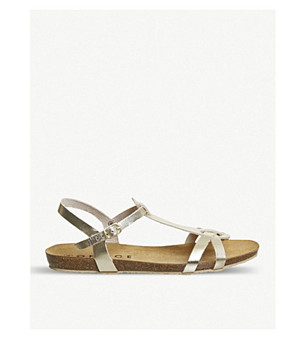 OFFICE Sorbet T-bar metallic leather sandals (Gold+leather