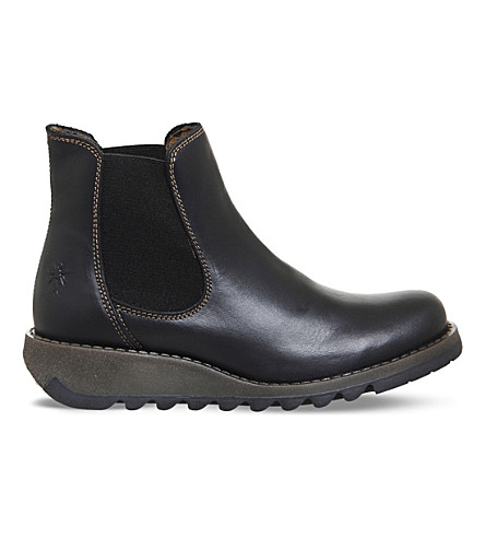 FLY LONDON Salv leather Chelsea boots (Black+rug