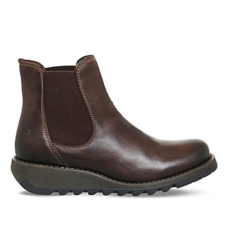 FLY LONDON Salv leather Chelsea boots (Dark+brown+rug