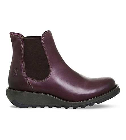 FLY LONDON Salv leather Chelsea boots (Purple+rug