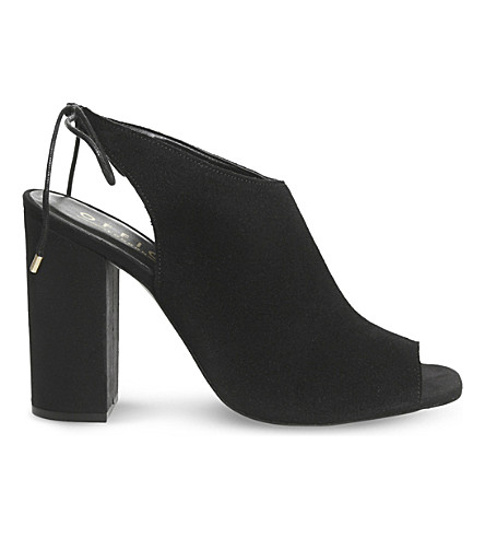 OFFICE Hannah peep-toe heeled boots (Black+suede