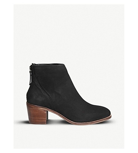 OFFICE Aylesbury zipped nubuck ankle boots (Black+nubuck