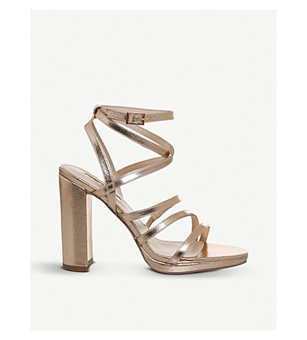 OFFICE Harris metallic faux-leather strappy sandals (Rose+gold