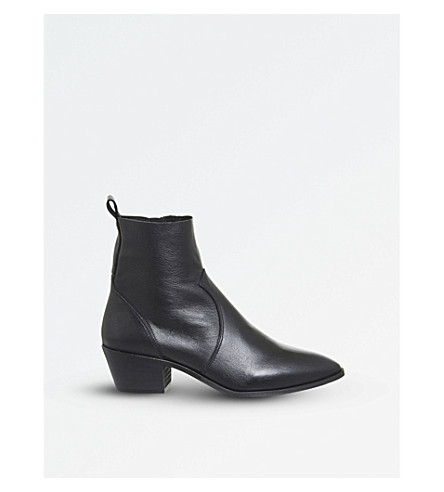 OFFICE 赤褐色真皮踝靴 (黑色 + 皮革