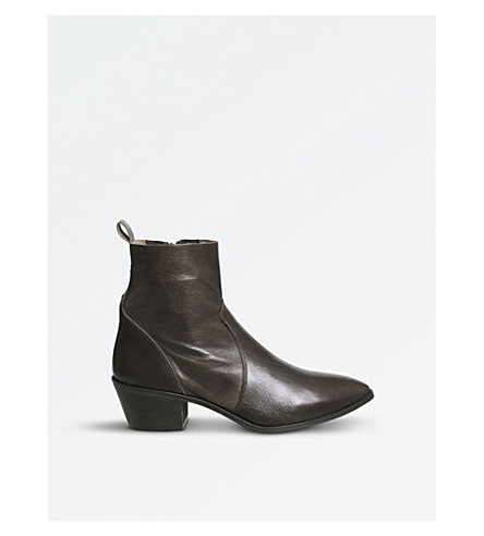 OFFICE Auburn leather ankle boots (Choc+leather