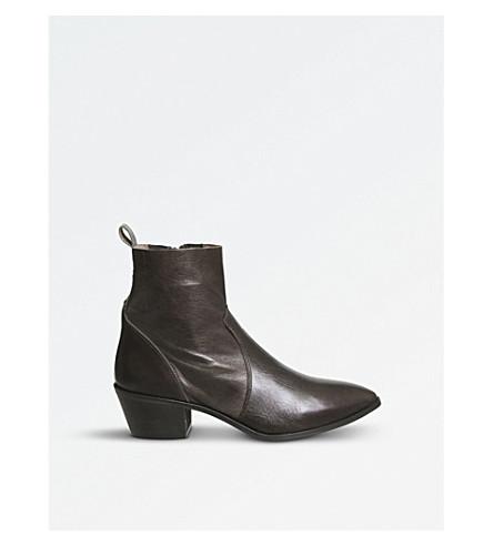 OFFICE 赤褐色皮革踝靴 (巧克力 + 皮革
