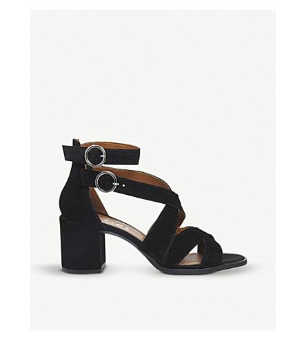 OFFICE Market suede block heel sandals (Black+suede