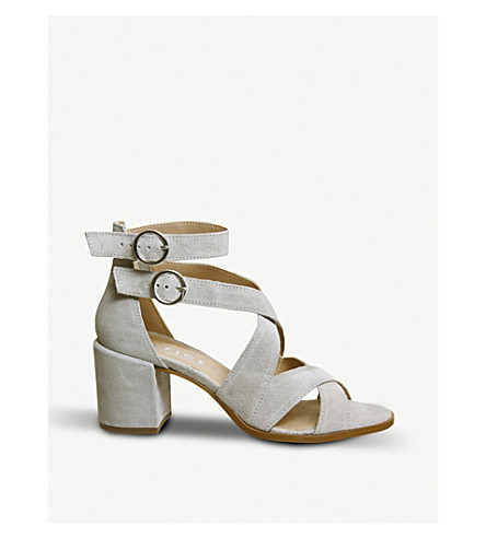 OFFICE Market suede block heel sandals (Grey+suede