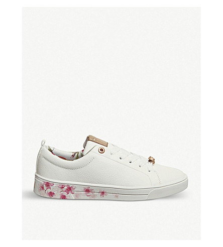 OFFICE Kelleip floral-print leather trainers (White+leather