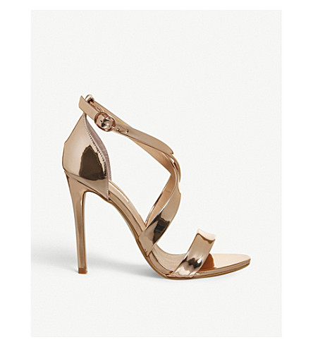 OFFICE Harper cross-over sandals (Rose+gold+mirror