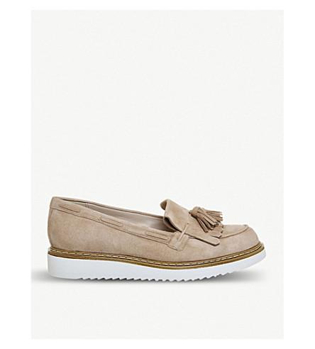 OFFICE Forbidden tassel suede flatform loafers (Nude+suede
