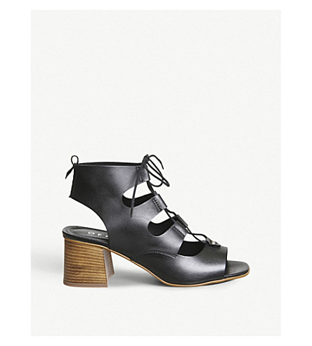 OFFICE Mallorca string leather sandals (Black+leather