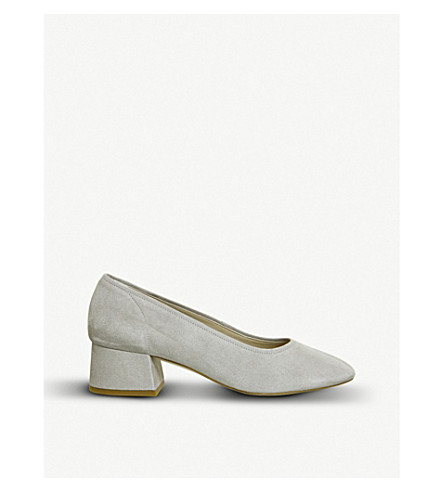 OFFICE Maze Soft Topline suede block-heeled courts (Grey+suede